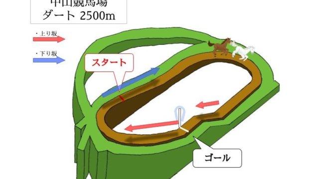 中山競馬場 ダート2500mのコースで特徴を解説