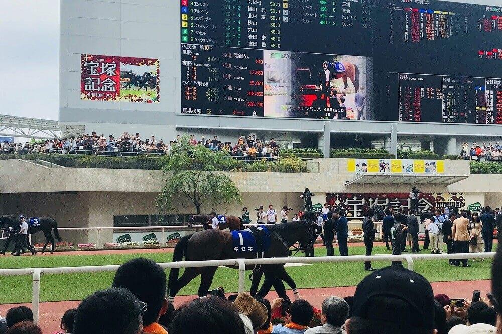 阪神競馬場のパドック画像(宝塚記念時に撮影)