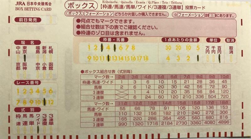 ワイド3頭ボックスのマークカード記入方法