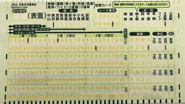 三連複馬券の買い方、緑のマークカード記入方法