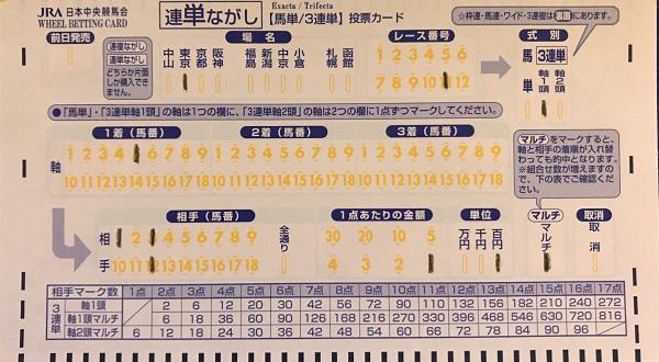三連単1頭流しのマークカード記入方法