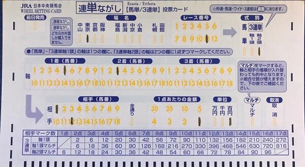 三連単2着流しのマークカード記入方法