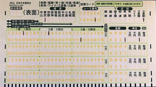 三連単馬券の買い方、緑のマークカード記入方法