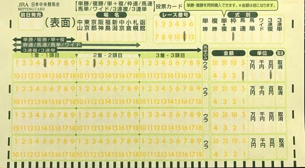 枠連馬券の買い方、緑のマークカード記入方法